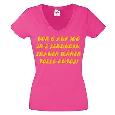 d6f1d74b7c01d2 Lustige Sprüche Damen Shirt VON 0 AUF 100 IN 2 Sekunden, Frauen WÄREN TOLLE  Autos