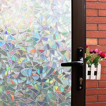 decorative window glass. 3D Decorative Window Film Clear Glass Rainbow Effect Door  Decoration Static Amazon com