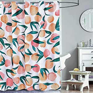 Peach Shower Curtain No Hooks Needed ,Waterproof Fabric,Cute Fruit Pattern,for Bathroom Hotel,72in x 72in