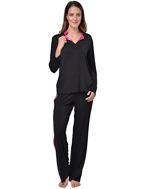 Raikou - Pijama - para mujer Schwarz/Dunkelrosa 36/38