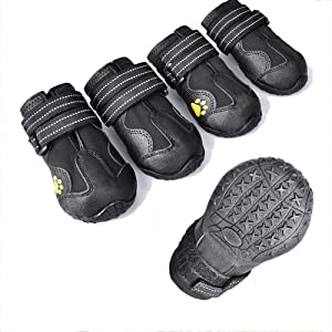 ZXM Dog Boots Waterproof Shoes with Reflective Velcro Rugged Anti-Slip Sole and Skid-Proof for Medium to Large Dogs 4Ps Dog Paw Protection