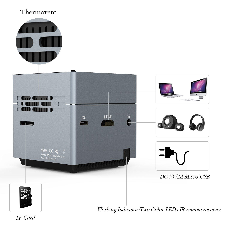 Tenker S6 Mini Cube Pico Projector With Wi Fi Smart Dlp