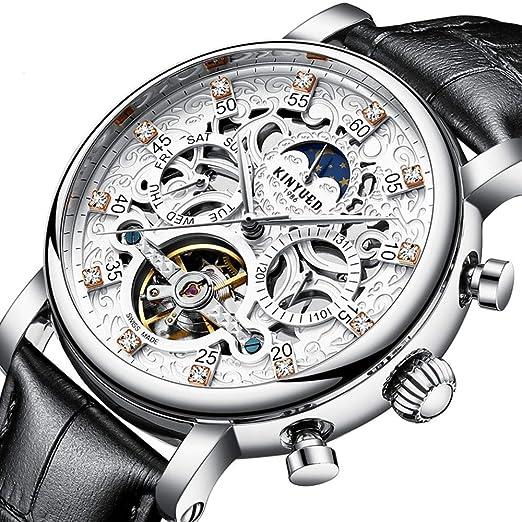 buy popular 2cf97 0f394 腕時計 メンズトゥールビヨン自動巻機械式腕時計 ビジネスシリーズ防水レザーストラップウォッチ (シルバー&ブラック)
