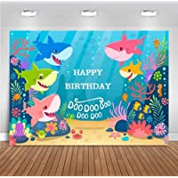 MMY 5x3FT Baby Shark Backdrop Blue Ocean Shark Happy Birthday Party Background Baby Shark Party Banner Supplies Photo Booth Props.