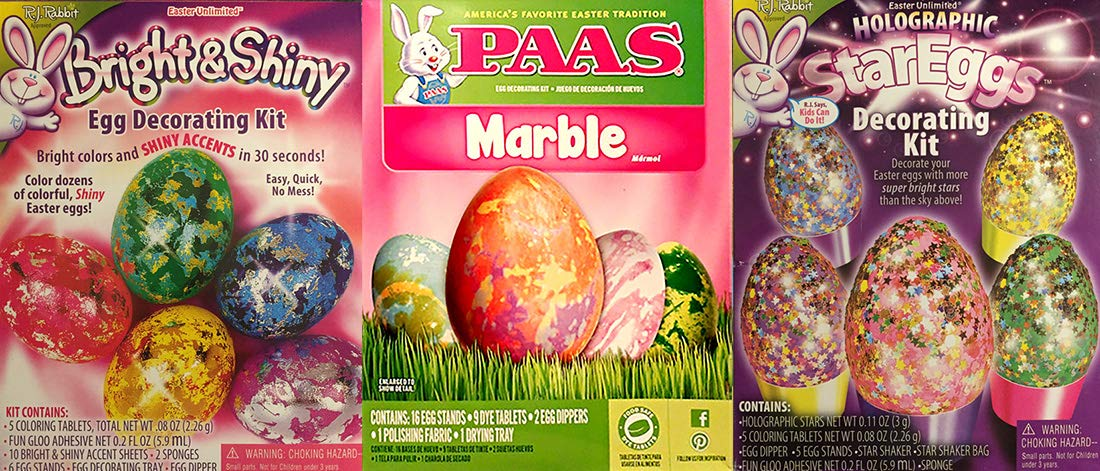 RJ Rabbit Bright and Shiny with Holographic Star Eggs and Paas Marble Easter Egg Color Dye Kits