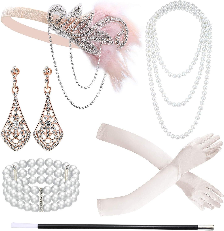 6 Pieces 1920s Flapper Accessories Headband Gloves Necklace Flapper Holder Earrings Bracelet Set for Women