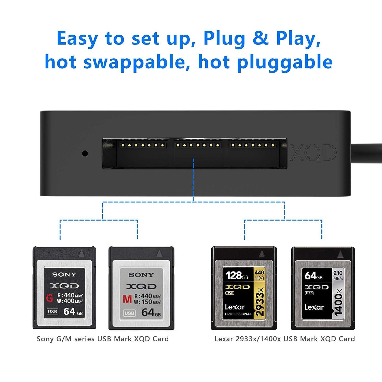 Rytaki XQD Lector de Tarjetas Serie M y Serie G, Lector de Tarjeta Memoria USB 3.0 5Gbps Alta Velocidad, Soporta Sony Serie M y G, Tarjetas Lexar XQD ...