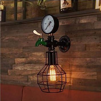 T-ZBDZ Loft retro luces de pasillo escalera lámpara de pared viento industrial decoración bar bar lámparas de hierro forjado: Amazon.es: Bricolaje y herramientas