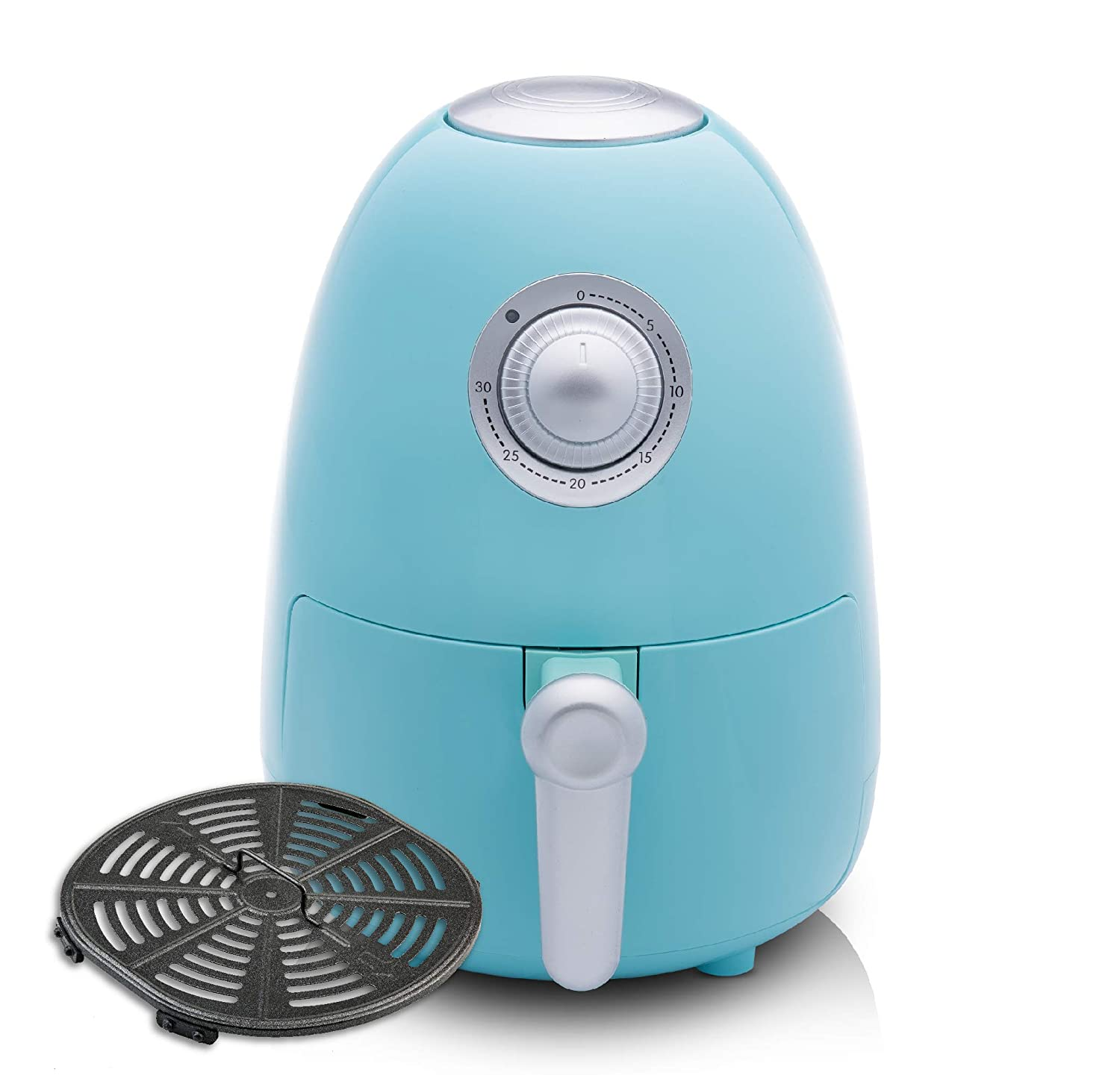 Modernhome Premium Air Fryer with Full-Color Recipe Book and Dishwasher-Safe Parts 2.1Qt Model Seafoam Teal