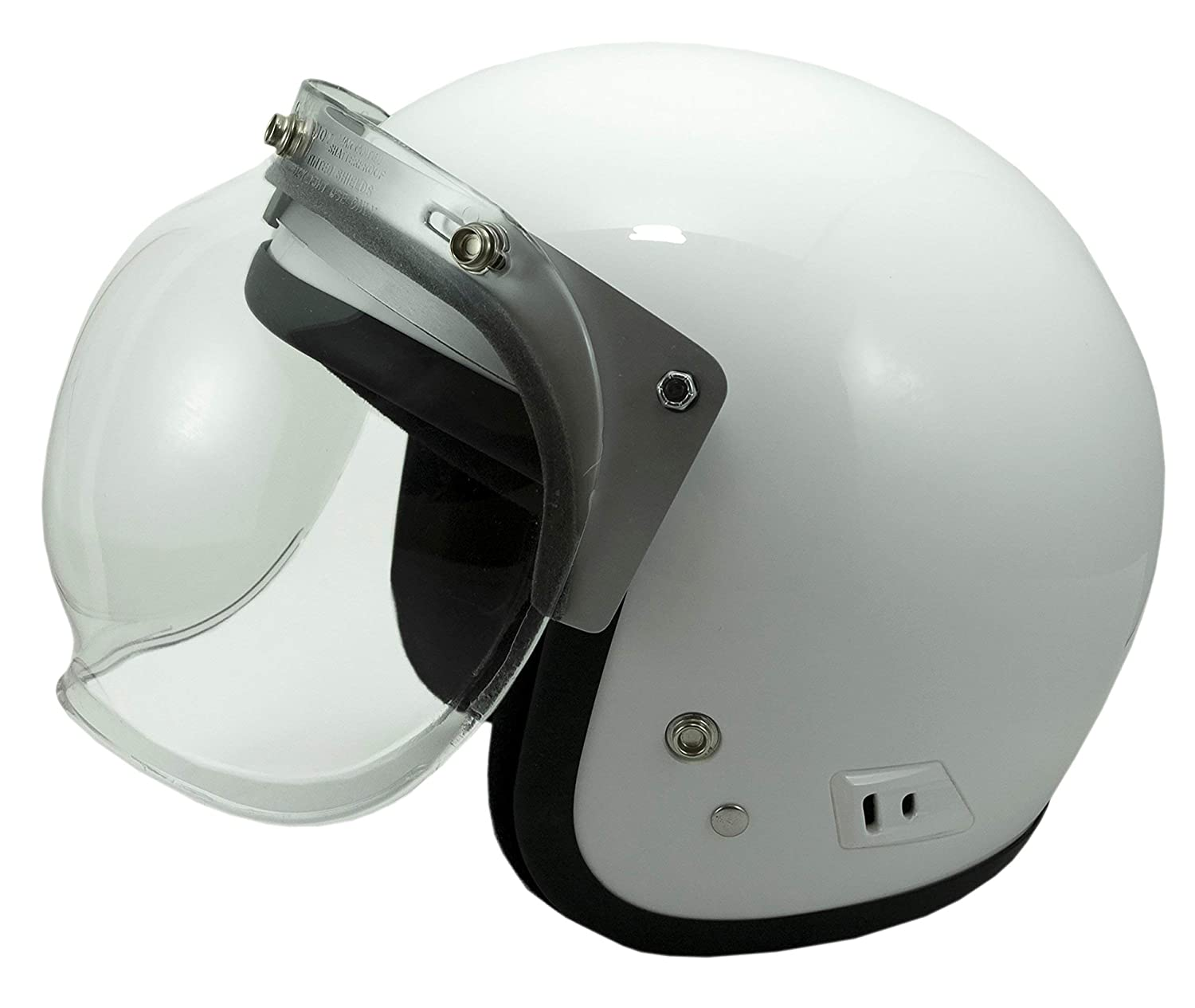 Motorcycle ATV Helmet 3 snap Bubble Flip Shield and Patented All Metal Adjustable Flip Up Adapter Made in USA by Hanson Design Co.