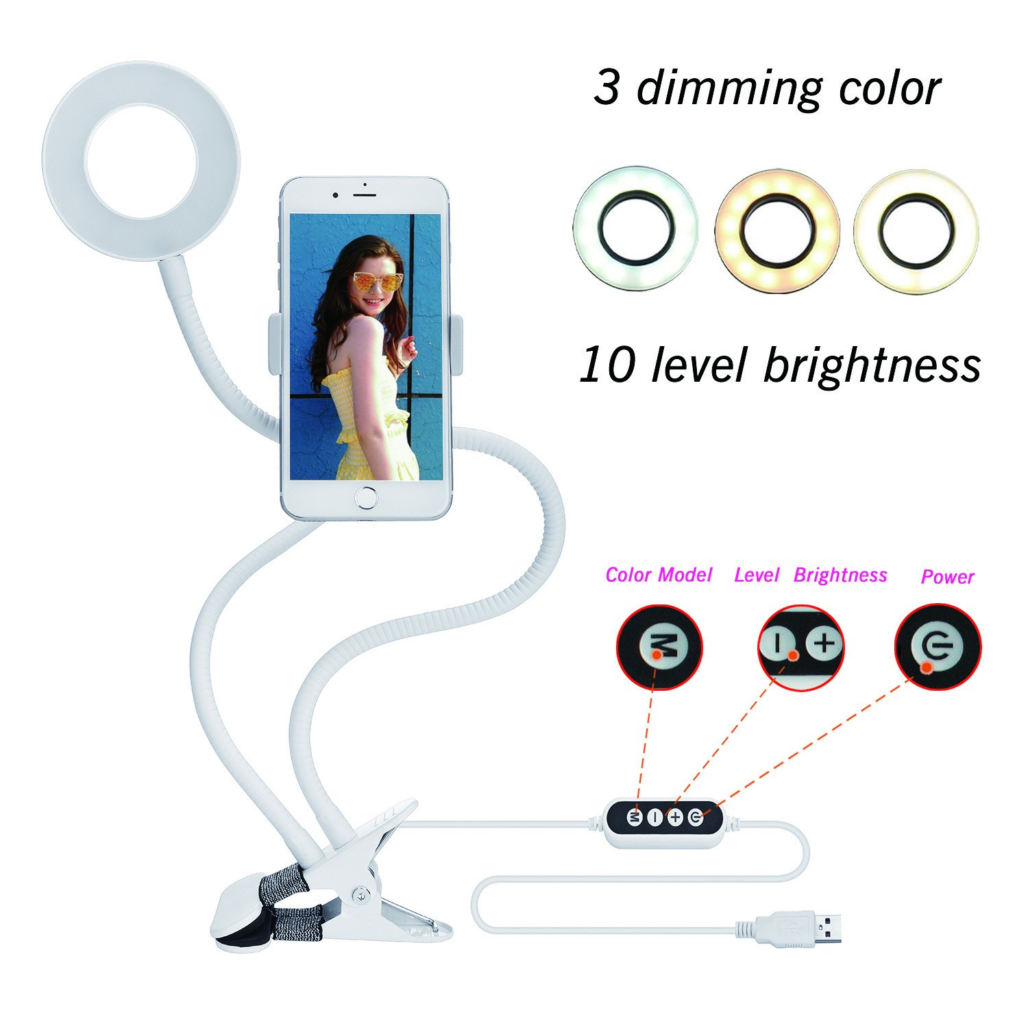 Velouer Selfie Ring Light (3 Color Light 10 brightness) with Clip Cell Phone Holder for Live Stream,Video Chat,360 Rotating Long Arms Lazy Bracket for iphone 7,6/plus,Samsung,HTC,LG,HUAWEI Etc White
