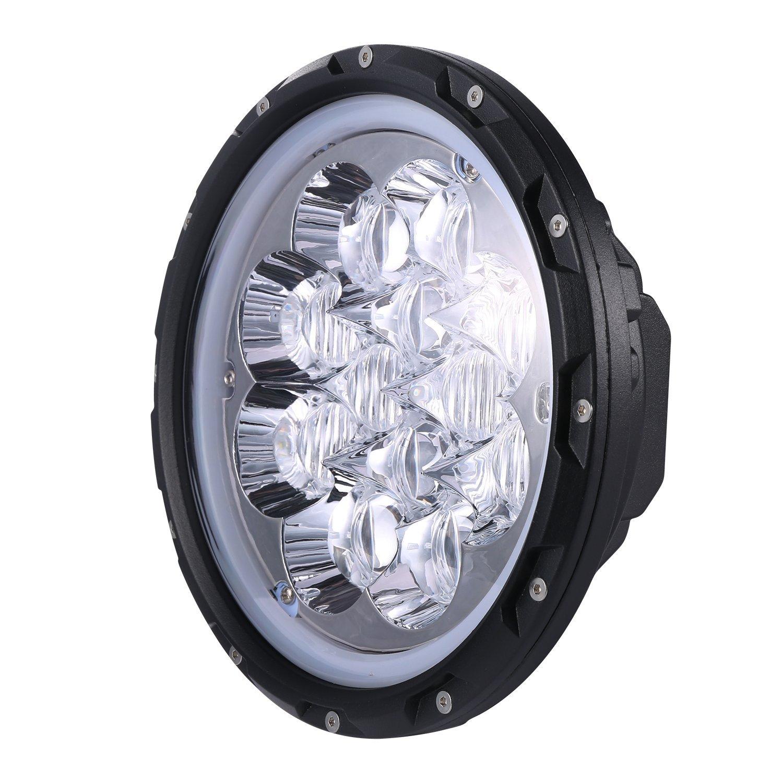 Hooke Road 7 inch LED Halo Headlights with Blue DRL Angel Eyes for 1997-2018 Jeep Wrangler TJ JK /& Wrangler Unlimited