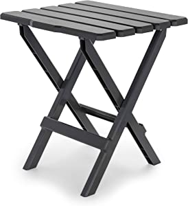 Camco Large Adirondack Portable Outdoor Folding Side Table - Perfect for The Beach, Camping, Picnics, Cookouts and More - Weatherproof and Rust Resistant - Charcoal (21047)