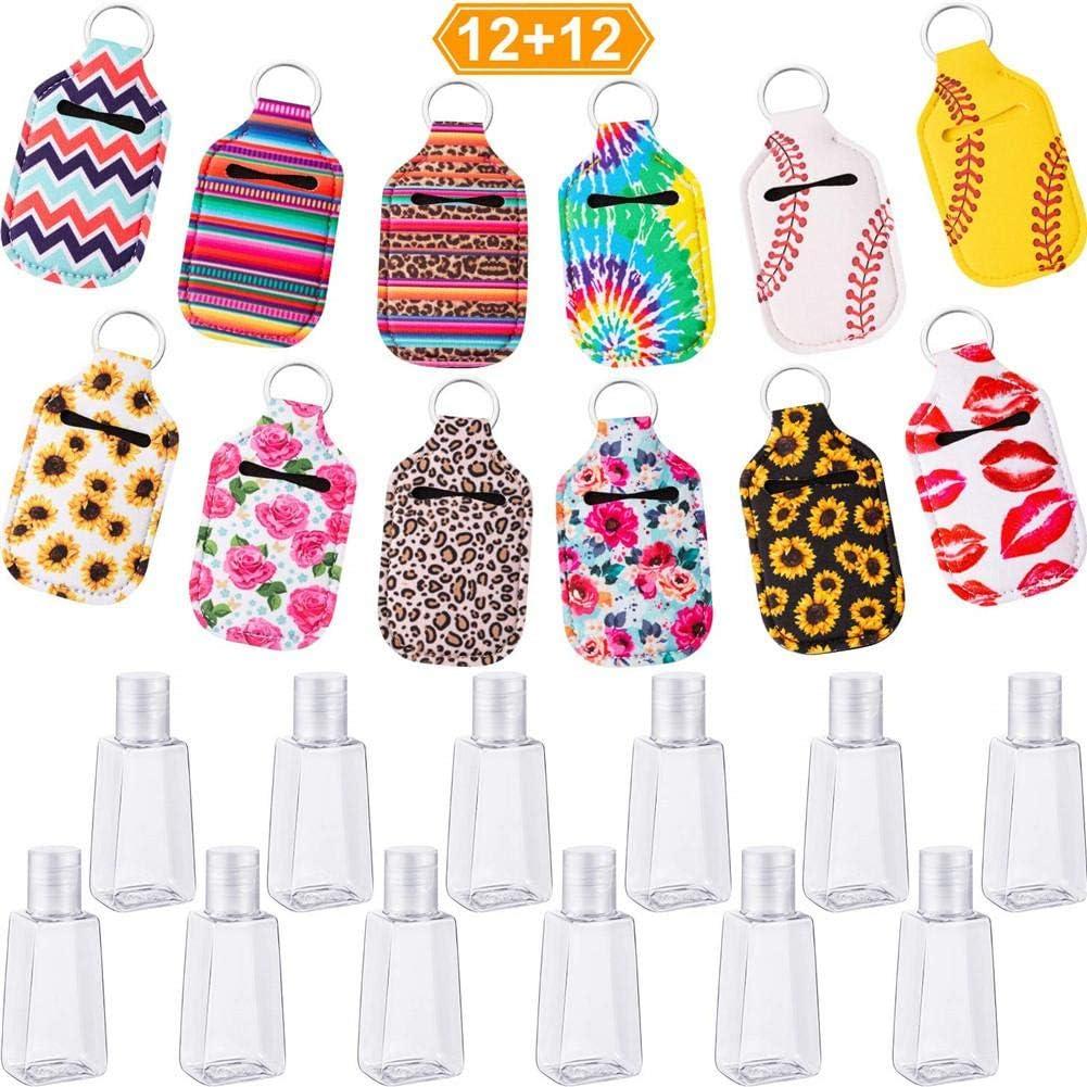 Cuffslee Lot de 24 recharges pour porte-cl/és 30 ml Conteneur de voyage vide Bouteilles en plastique pour hommes et femmes Portable avec
