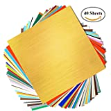 "GLOBAK Adhesive Backed Vinyl Sheets 12"" x 12"" 40 Sheets Assorted Colors (Glossy,Matt,Metallic and Brushed Metallic). Premium Quality Vinyl Sheets for Cricut and Other Cutters"