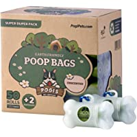 Pogi's Poop Bags - 50 Unscented Rolls (750 Bags) +2 Dispensers - Earth-Friendly, Leak-Proof Dog Waste Bags