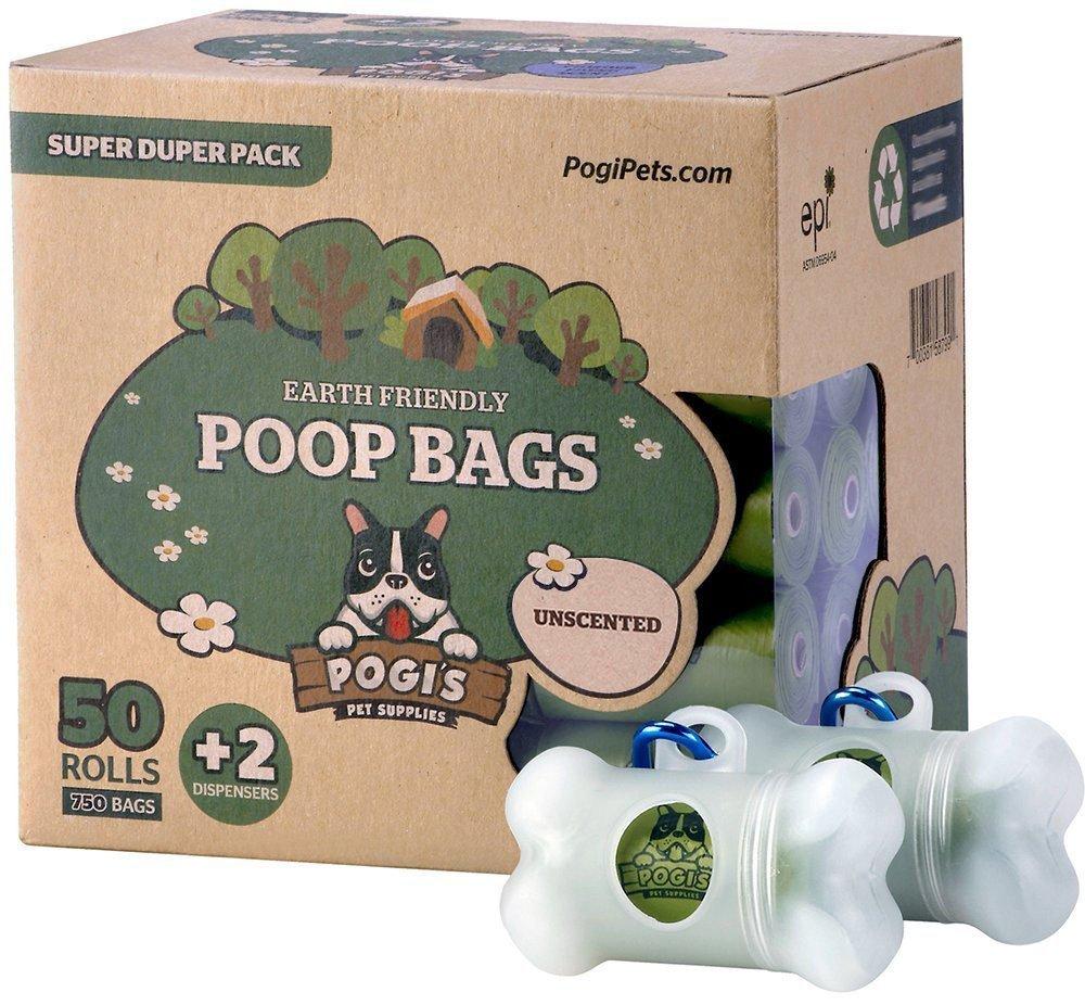 Pogi's Poop Bags - Bolsas para excremento de Perro - 50 Rollos (750 Bolsas) + 2 Dispensadores - Grandes, Biodegradables, Perfumadas, Herméticas Pogi' s Pet Supplies