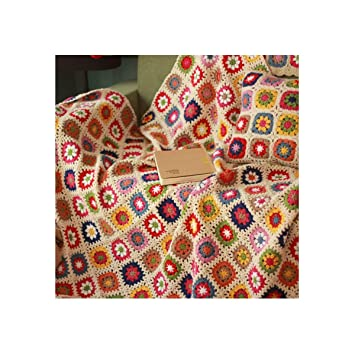MIGUOR Manta de Ganchillo Hecha a Mano Estilo campestre, Manta de Tapiz de Aire Acondicionado, 150 x 100 cm, Lana,, 59in X 39.3in: Amazon.es: Hogar