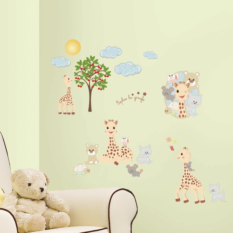 Vinyle Thedecofactory RMK2863SCS Sophie LA Girafe ROOMMATES REPOSITIONNABLES 104 x 26 x 2,5 cm Multicolore 30 Stickers