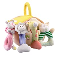 4 Plush Baby Rattles Set, Infants Developmental Interactive Unique Toys for Baby, Animal, Musical Play Gift for Age 1, 2, 3, 4, 5, 6, 7, 8, 9, 10, 12, 18 Month Olds Newborn, Boy, Girl - iPlay, iLearn