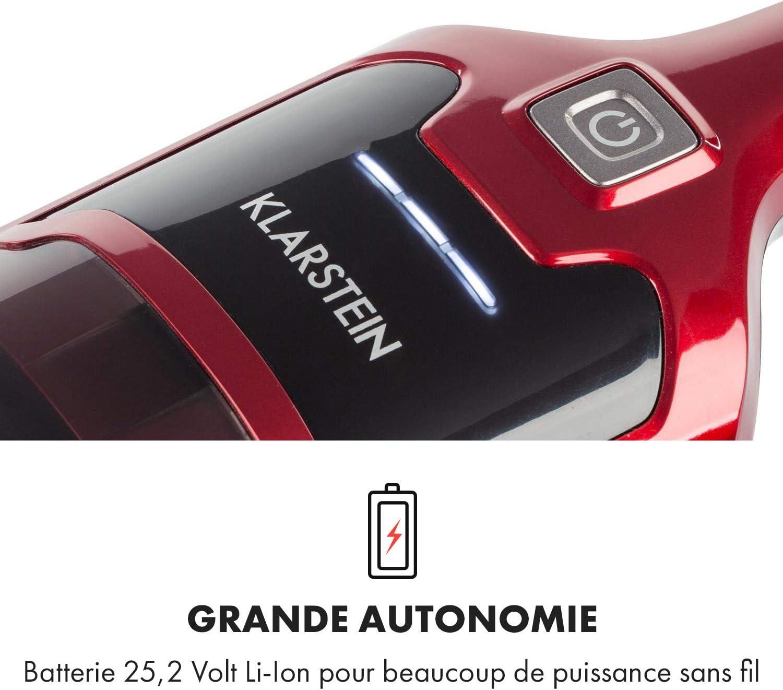 KLARSTEIN TurboHybrid - aspirateur Cyclone sans Sac, aspirateur à Batterie, éclairage LED, 2 Niveaux d\'aspiration, Peu encombrant, avec Buses, Rouge métallique Rouge