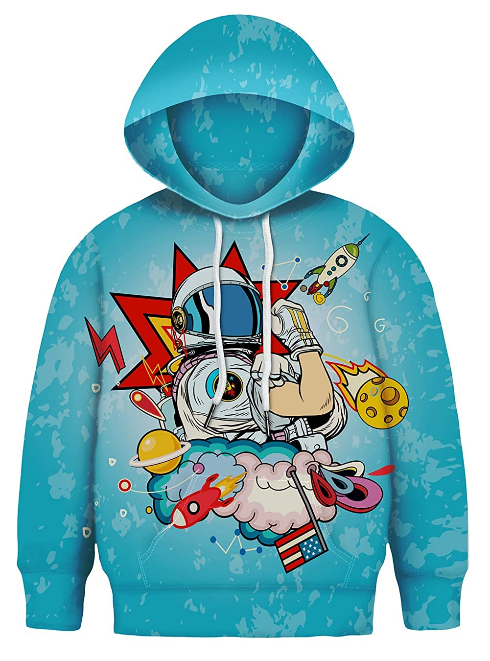 Asylvain Teen Boys Girls Hoodies with 3D Print Graphic Colorful Deisgn Sweatshirt for Kids with Pocket 3-14 Years