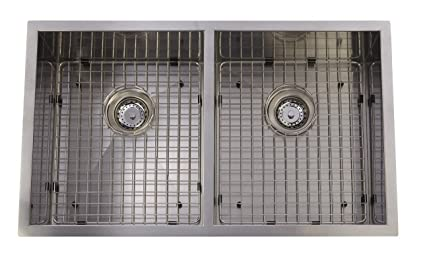 Stainless Steel Hand Made Square Undermount Kitchen Sink Grid Strainer X  Drain, Double Bowl,