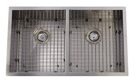 Stainless steel hand made square undermount kitchen sink grid stainless steel hand made square undermount kitchen sink grid strainer x drain double bowl workwithnaturefo