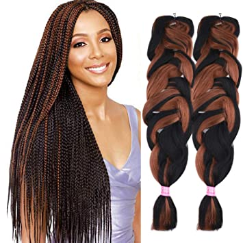 2 Pack Jumbo Braiding Hair Color Kanekalon X,Pression Braiding Fiber Hair  Extensions African Jumbo Braids for Twist Corchet (165g/pcs, 84inch,F1b/30)