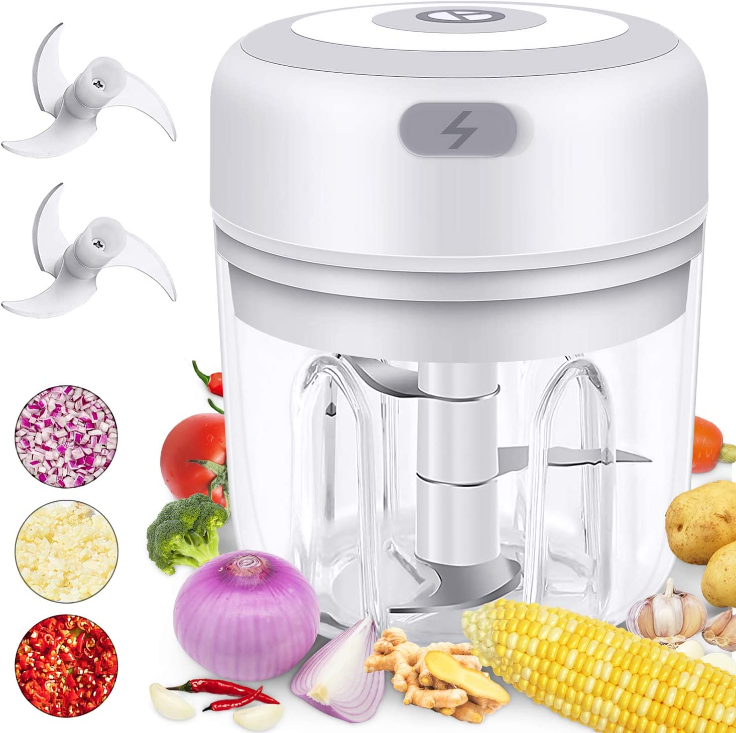 Electric Mini Garlic Chopper for Kitchen,Vsadey Wireless Handheld Mincer for Cutting Onion Spices Nut Ginger Salad Veggie Blender and Baby Food Masher 250Ml