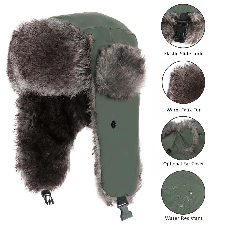 Yesurprise Trapper Warm Russian Trooper Fur Earflap Winter Skiing Hat Cap Women Men Windproof by Yesurprise (Image #4)