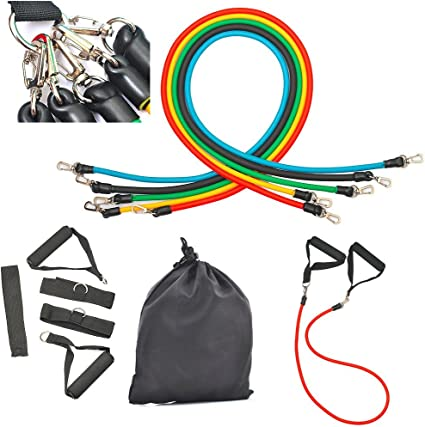 11 Pieces Resistance Bands Set with Foam Handles Workout Bands Kits for Yoga