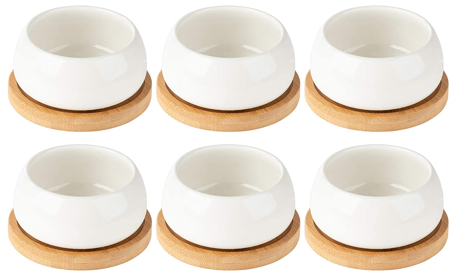 Porcelain Succulent Pots – 6-Pack Round Planters with Bamboo Bases for Small Plants, Garden Decor, White, 3 x 1.6 Inches