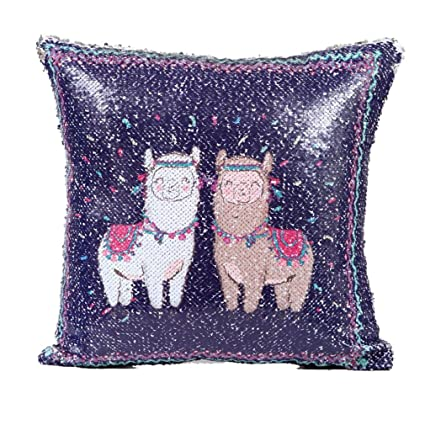 Amazon WensLTD Clearance DIY Two Tone Alpaca Glitter Sequins Custom Decorative Sports Pillows