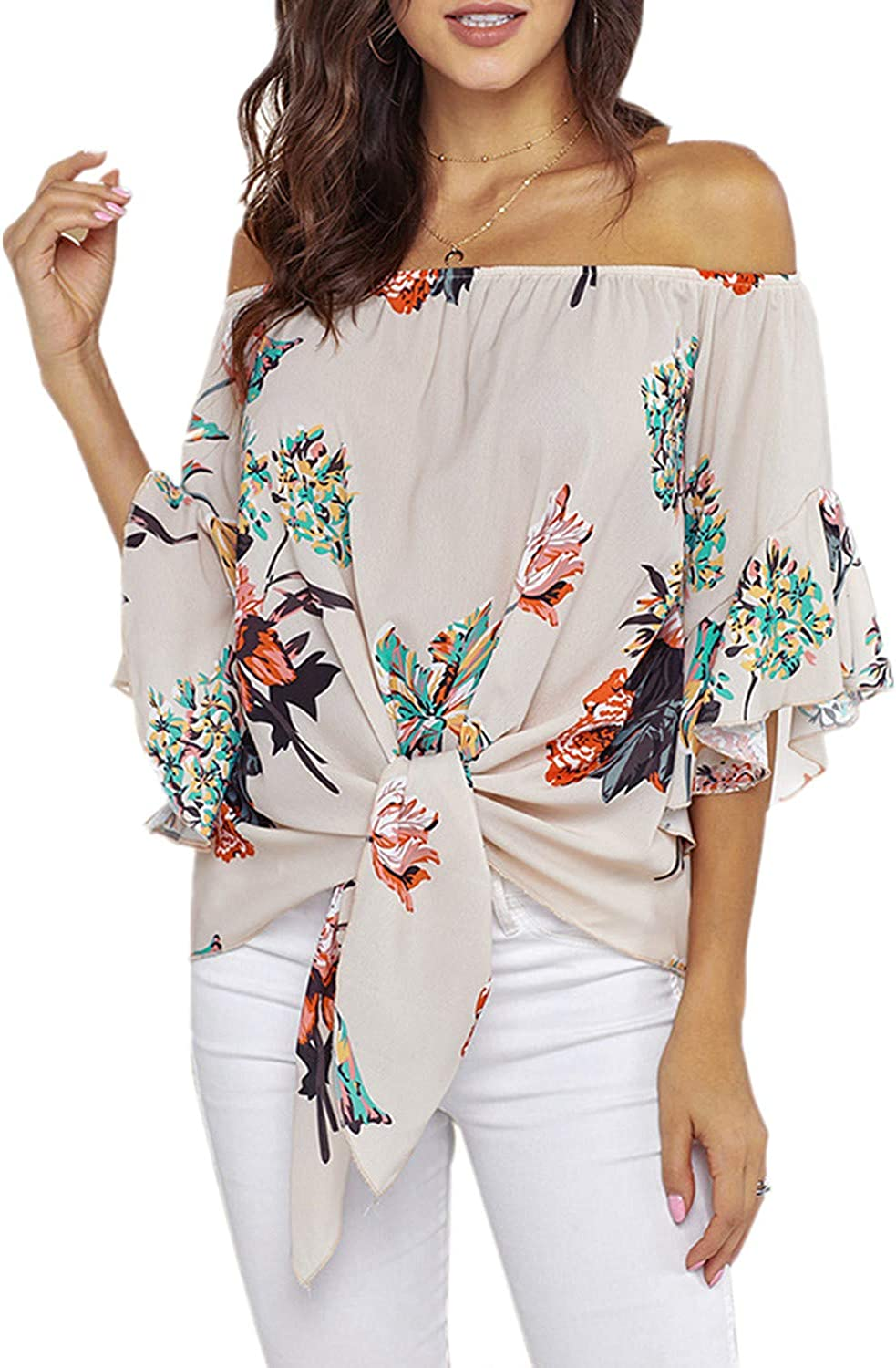 NREALY Falda Womens 3//4 Bell Print Sleeve Off Shoulder Front Tie Knot T Shirt Tops Blouse