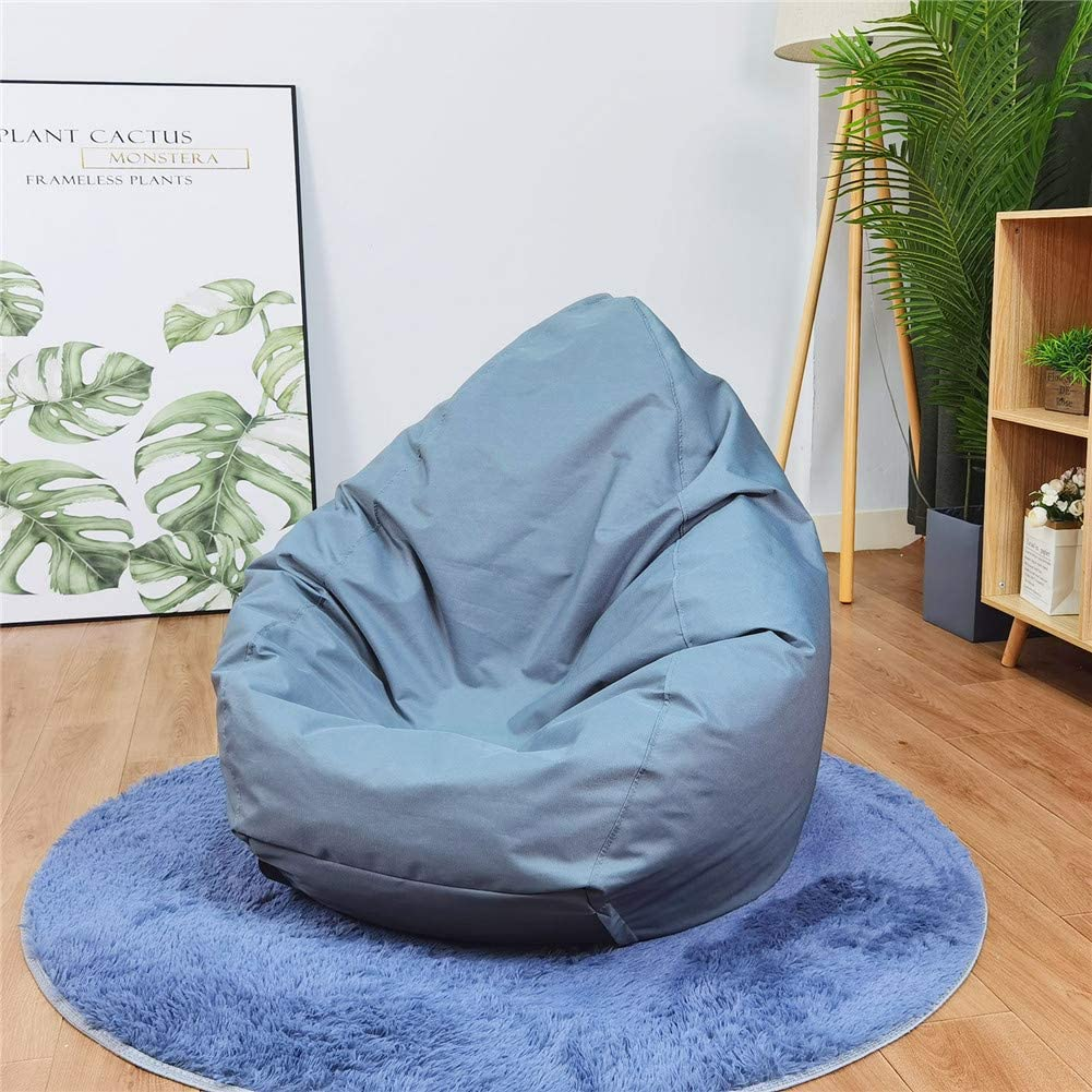 Zip Beanbag for Organizing Children Plush Toys Large Waterproof Canvas Beanbag Stuffed Animals Plush Toys Storage for Kids Teens Bean Bags Chair Cover Blue, 75cm95cm