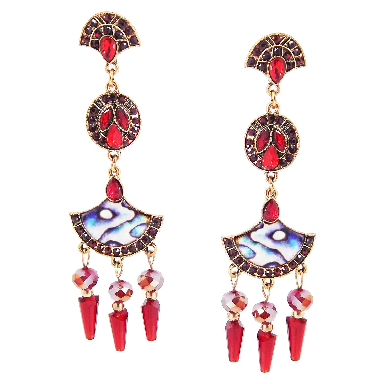 9blings Designer Marble Finish Red Cz Crystal Long Dangle Earring