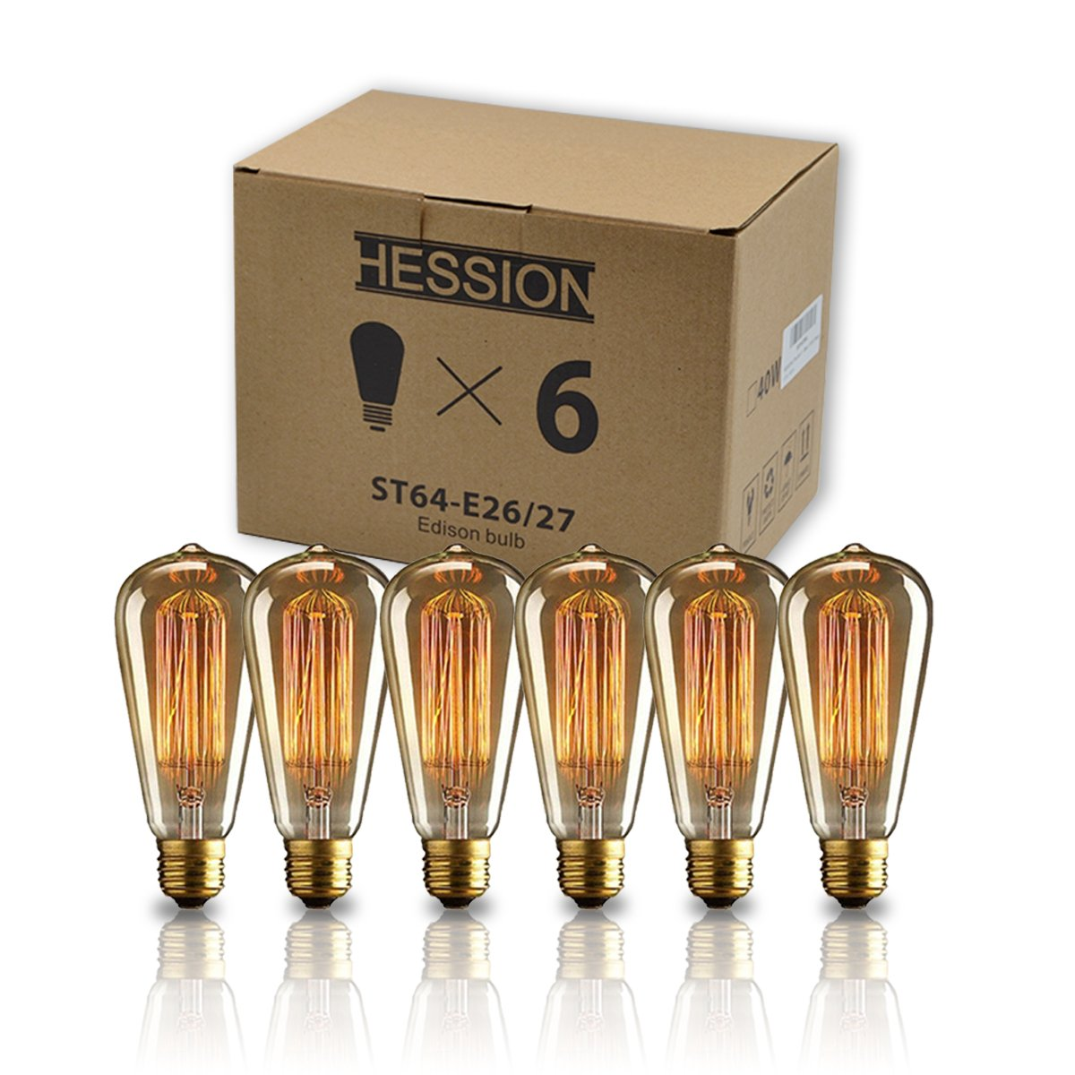 HESSION ST64 40w Vintage Edison Light Bulb Dimmable Antique Tungsten Filament Incandescent Bulbs Squirrel Cage Style E26 Base for Decorative Pendant Lighting Glass 110V Amber Color(6 Pack)