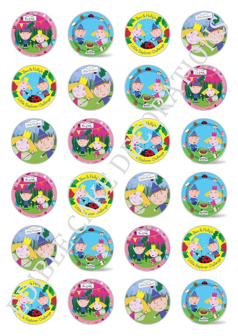24 x Ben and Holly's little Kingdom Celebration Edible Paper Cupcake Toppers Cake Decorations Birthday