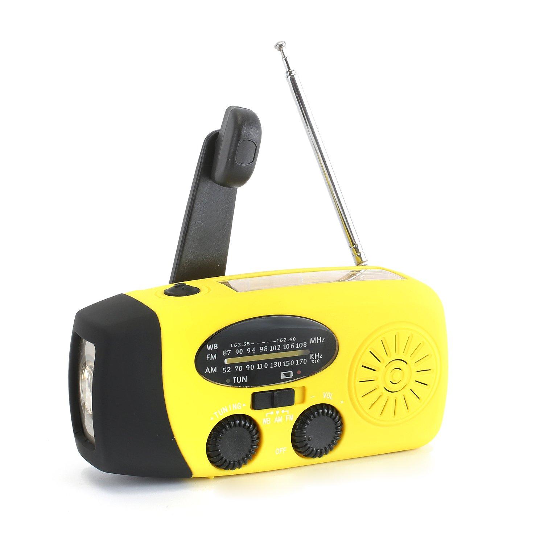 Zoostliss Emergency Hand Crank Self Powered AM/FM NOAA Solar Weather Radio with LED Flashlight for Smart Phone (Orange)