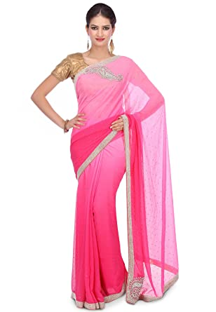 ac02e194b584cc Amazon.com: Utsav Fashion Hand Embroidered Chiffon Saree in Ombre Pink:  Clothing