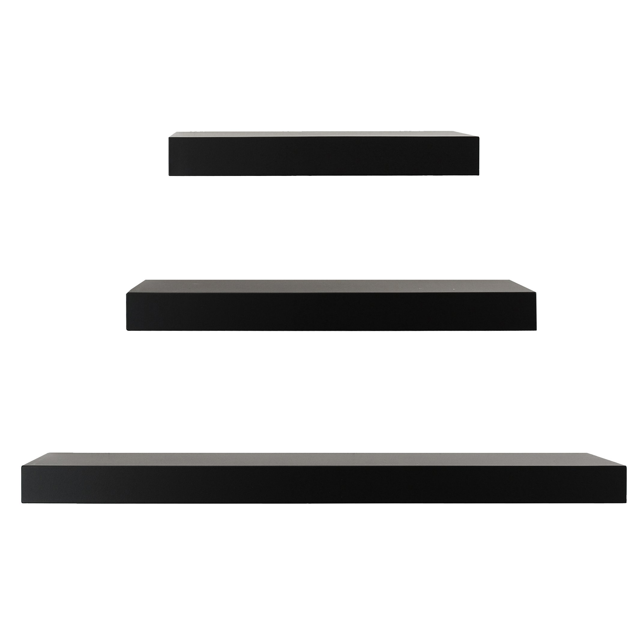 Kiera Grace Maine Wall Ledges , 12 Inch, 16 Inch, 24 Inch, Black, Set of 3