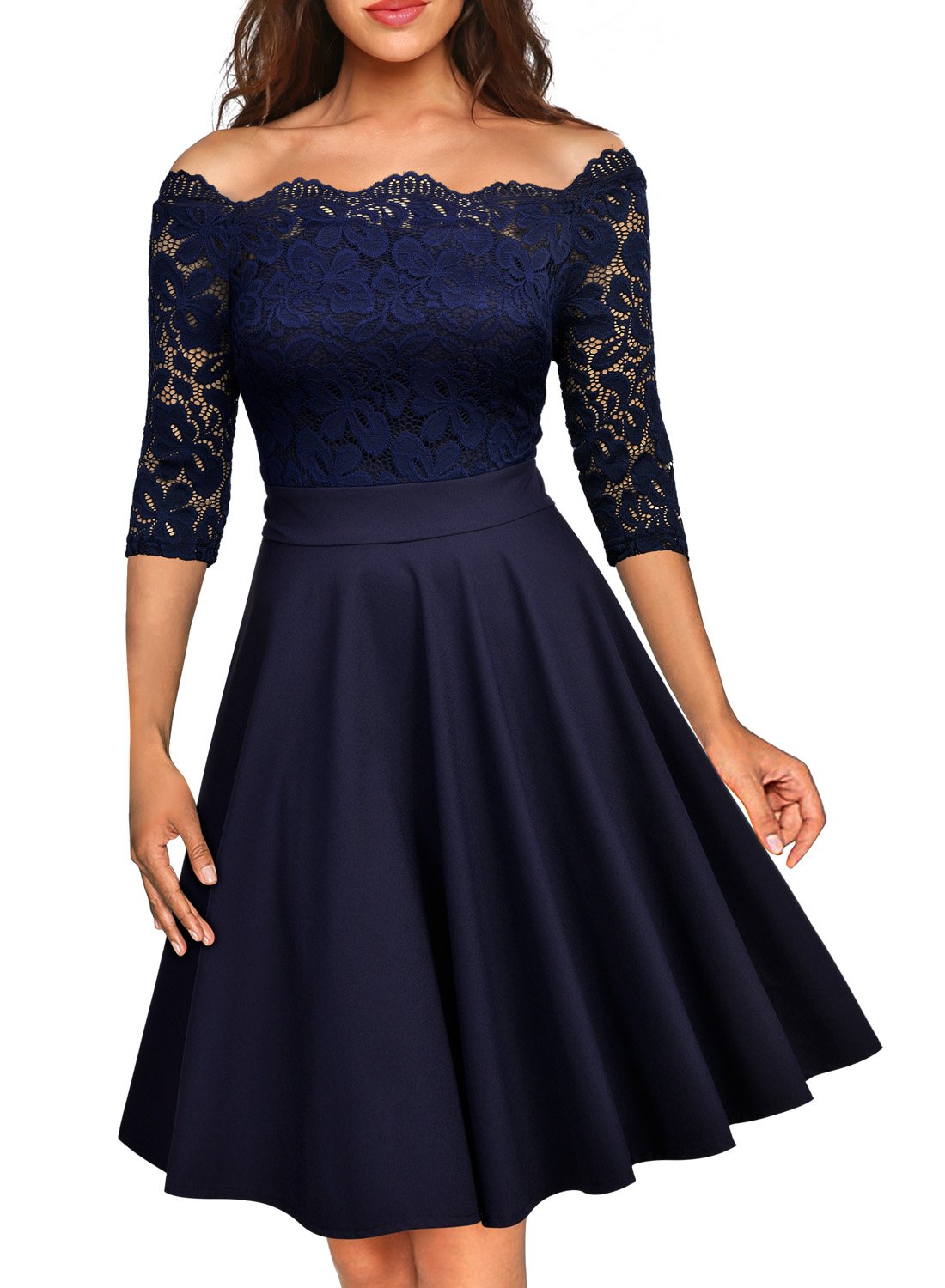 MissMay Womens Vintage Floral Lace Half Sleeve Boat Neck Cocktail Formal Swing Dress Medium, D-navy Blue, Medium by MissMay