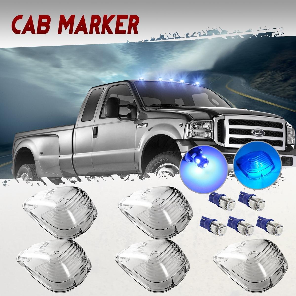 Partsam 5x Clear Cab Marker Clearance Light + 5x Amber 5050-SMD 194 168 T10 LED Bulb Replacement For 1999-2016 E150 E250 E350 E350 E450 F150 F250 F350 F450 F550 Super Duty