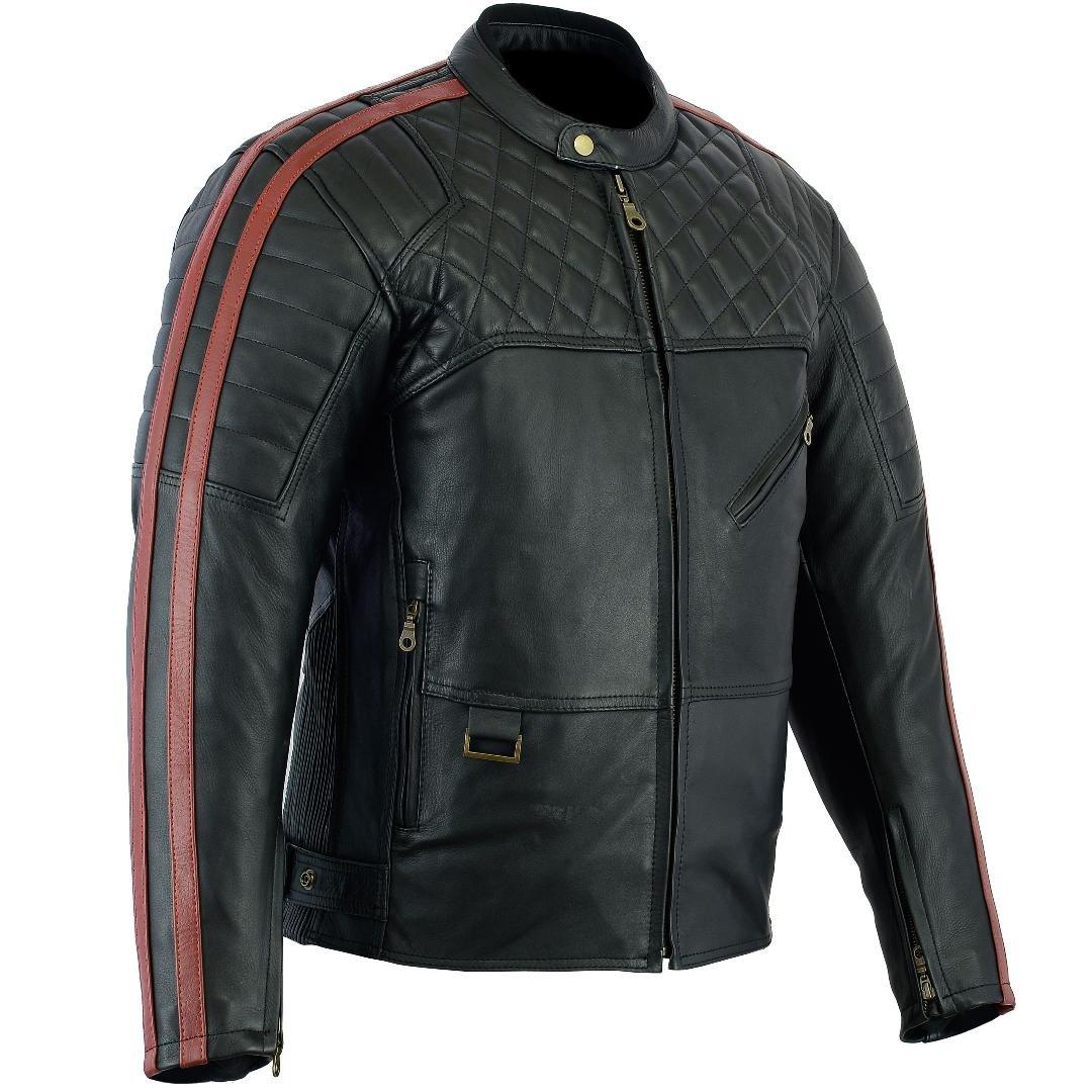 Chaqueta de moto Negro // Blanco 2XL Australian Bikers Gear  Retro Style The Bonnie
