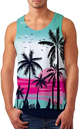 Idgreatim Mens Breathable Tank Tops Novelty 3D Graphic Gym Workout Sleeveless T-Shirt Tees S-XXL