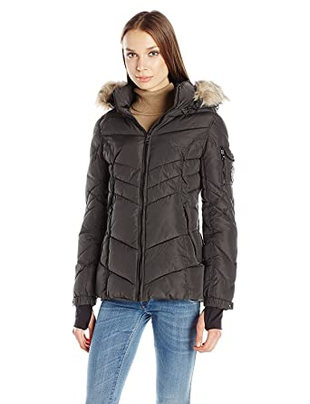 5231ece0d5d Amazon.com: Madden Girl Women's Puffer Jacket with Faux Fur Hood ...