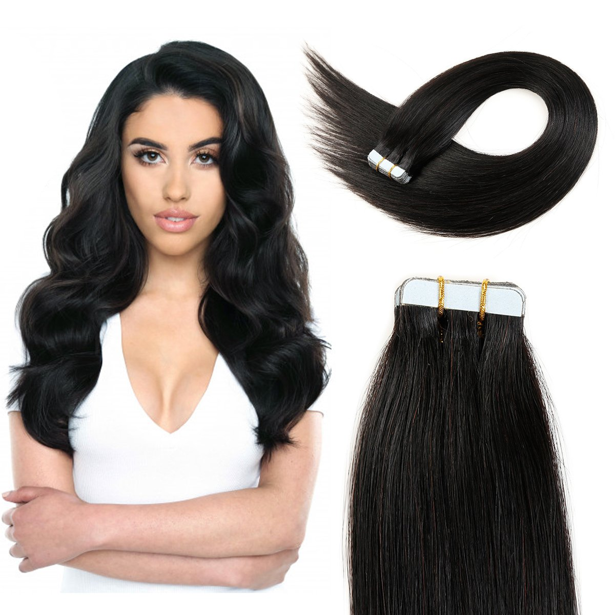 18inch Nntural Black Tape In Hair Extensions Human Hair Tape In Extensions Natural Black Remy Hair Tape In Extensions 50g 1B#