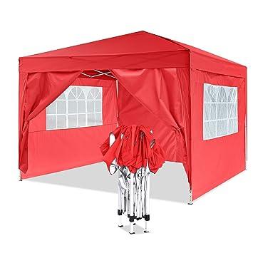 YUEBO Tonnelle de Jardin Tente Pliante 3x3 m Pavillon imperméable Gazebo  Pliable Tente de Reception (Rouge)