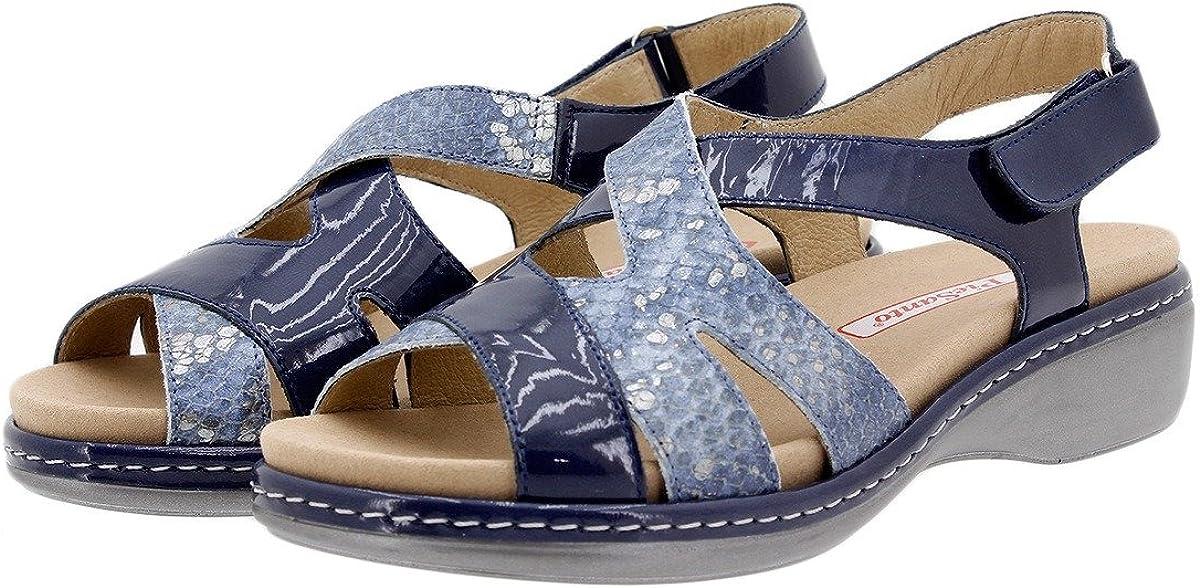 PieSanto Chaussure Femme Confort en Cuir 1813 Sandales à Semelle Amovible Confortables Amples Marino